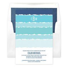Tekhelet Waves Invitations (includes envelopes) Printing: Digital Lithography