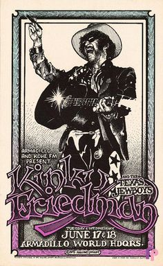 Classic Poster - Kinky Friedman and the Texas Jewboys at Armadillo World Headquarters, Austin, TX 6/17-18/75 by Micael Priest