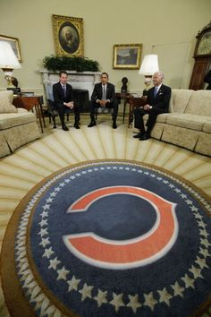 Chicago Bears oval office rug. I think this was photo shopped but who cares!!! GO BEARS!