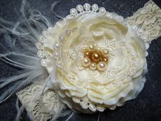 GORGEOUS Baby Girl Vintage Headband with Pearls and Lace Headband  Can be made into a hair bow or clip.  This is an absolutely stunning headband that I made for a baby girl's baptism. Perfect for baptism, christening, weddings, bridesmaid hair clips, flower girls at weddings, Christmas, Easter, birthdays, or just everyday use! This would make a wonderful baby shower or birthday gift, and would make a gorgeous photography prop.