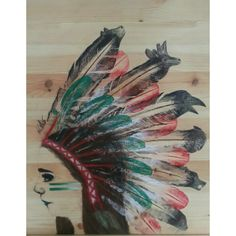 Final A2 Art exam piece - inspired by Native American Art - pastel, pen, biro, pencil, ink & feathers on pine wood
