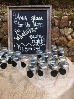 100 Chalkboard Name Tags for Mason Jars by TheBurkeStopsHere, $25.00. Cute for drinks and party favor? by louellaa