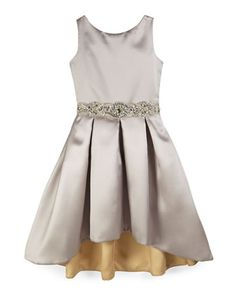 Sleeveless Pleated Sateen High-Low Dress, Silver, Size 7-14 by Zoe at Neiman Marcus.