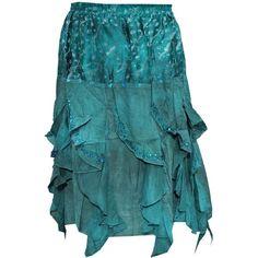 Mogul Women's Ocean Blue Designer Poppy Frill Stonewashed Rayon Boho... (1,820 INR) via Polyvore featuring skirts, bohemian skirt, rayon skirt, blue skirt, bohemian style skirts and blue ruffle skirt