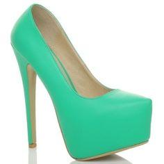 Yeşil Renkli Platform Topuklu Ayakkabı