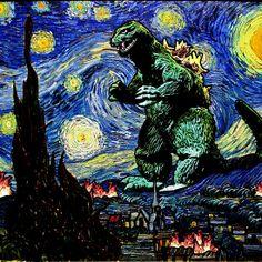 Godzilla versus Starry Night - Vincent van Gogh's Starry Night / Gozilla (Gojira) mashup.