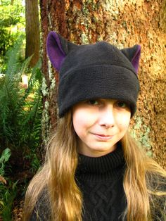 Mens Womens Fleece Kitty Cat Hat - Black   Aubergine Eggplant Purple Cat  Ear Hat by Ningen Headwear ab997b036866