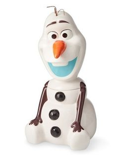Their hearts will melt as soon as they spot this Olaf cookie jar smiling atop the counter. Crafted of sturdy stoneware, the jar is hand painted to capture Olaf's wide-eyed grin, carrot nose, stick arms and coal buttons. Simply lift his frosty head… Holiday Cookies, Holiday Treats, Olaf Cookies, Cookie Jars, Disney Frozen, Stoneware, Hand Painted, Desserts, Gadgets