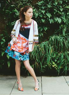 Clover Canyon multicolor top, $229, Coplon's; Alice & Olivia multicolor skirt, $330, Nordstrom; Steve Madden floral pumps, $99, Belk; Clover Canyon jacket, $495, Coplon's; Melvin wrap bracelet, $44, Doll  Photo by Angela Cox Styled by Erica Hanks