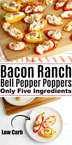 Bacon Ranch Bell Pepper Poppers - Low Carb Appetizer Best Picture For bell peppers breakfast For Your Taste You are looking for something, and it is Soup Appetizers, Low Carb Appetizers, Low Carb Dinner Recipes, Appetizer Recipes, Keto Recipes, Cooking Recipes, Healthy Recipes, Easter Recipes, Cake Recipes