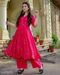 Dupatta Sets Women's Printed Anarkali Kurta with Palazzos Kurta Fabric: Rayon Bottomwear Fabric: Rayon Fabric: Rayon Sleeve Length: Three-Quarter Sleeves Set Type: Kurta With Bottomwear Bottom Type: Palazzos Pattern: Printed Multipack: Single Sizes: XL (Bust Size: 42 in Kurta Length Size: 48 in Bottom Waist Size: 32 in Bottom Length Size: 38 in)  L (Bust Size: 40 in Kurta Length Size: 48 in Bottom Waist Size: 30 in Bottom Length Size: 38 in)  M (Bust Size: 38 in Kurta Length Size: 48 in Bottom Waist Size: 28 in Bottom Length Size: 38 in)  XXL (Bust Size: 44 in Kurta Length Size: 48 in Bottom Waist Size: 34 in Bottom Length Size: 38 in) Country of Origin: India Sizes Available: M, L, XL, XXL *Proof of Safe Delivery! Click to know on Safety Standards of Delivery Partners- https://ltl.sh/y_nZrAV3  Catalog Rating: ★3.9 (454)  Catalog Name: Women's Printed Rayon Kurta Sets CatalogID_936414 C74-SC1853 Code: 685-6150024-
