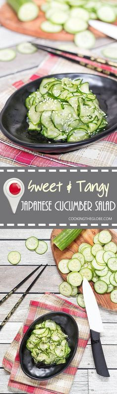 This Japanese Cucumber Salad, called Sunomono, is sweet and tangy. It is really quick to make and is perfect as an appetizer or a side dish!(Salad Recipes To Try) Asian Food Recipes, Cucumber Recipes, Vegetarian Recipes, Healthy Recipes, Jalapeno Recipes, Fast Recipes, Juicer Recipes, Stevia Recipes, Dishes Recipes