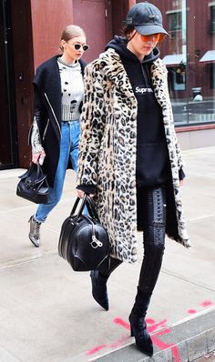 In a hurry but need to spruce up your look? Take it from Bella, throw a furry leopard coat over your everyday hoodie, and you're out the door. On Bella Hadid: Majorelle Fifi Faux Fur Coat ($238);...