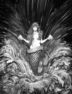 vaporwave ilustration Nico Delort (would make a great mermaid tattoo,.- vaporwave ilustration Nico Delort (would make a great mermaid tattoo, with my name on the banner) Nicolas Delort, Monochromatic Art, Scratchboard Art, Black And White Comics, Tinta China, Bd Comics, Manga Illustration, Fantastic Art, Gravure