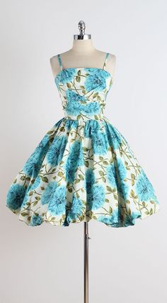 Aqua Bouquet . vintage 1950s dress . vintage by millstreetvintage