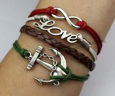 Charm bracelet antique silvery anchor bracelet love by handworld, $5.99