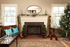 simple living room with tv ideas black small over fireplace design and cabin dining farmhousepact backyard. modern farmhouse living room with grey walls and red brick fireplace – hello lovely… Modern Christmas Decor, Christmas Living Rooms, Christmas Decorations For The Home, Farmhouse Christmas Decor, Farmhouse Decor, Christmas Tree, Christmas Ideas, Farmhouse Design, Farmhouse Style