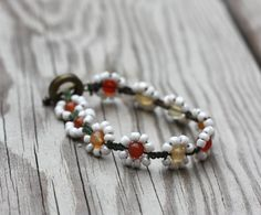 Red Agate and White Beaded Daisy Bracelet by TaylorSijan on Etsy, $15.00