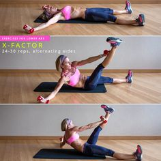 Start with your body on the floor in an X. Lift your left hand and bring the weight towards your right shin, lifting your torso and keeping your belly pulled into your spine, until you roll all the way up to balancing on your tailbone. You can come up onto your elbow a bit to make it a little easier—don't use it as a crutch, but as a guide. Lower back down and alternate sides. Try turning your foot out, still keeping the leg straight, to get a deeper inner thigh workout at the same time.