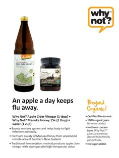 Apple cider and manuka honey for building up immune system naturally.