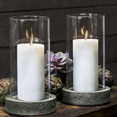 Sonoma Pillar Candleholder Set of Two with Hurricanes (3″ Candle)