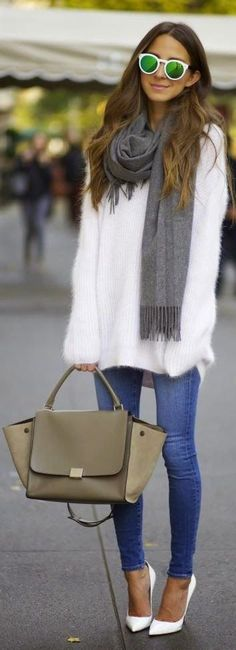 Cute Winter Outfit. White Fuzzy Sweater, Grey Scarf, White Sunglasses With Green Lens, Olive Trapeze Tote Bag, White Pumps and Light Blue Skinny Jeans. #LookOfTheDay