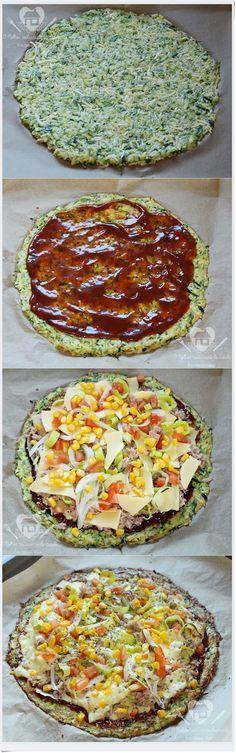 Pizza feita com massa de abobrinha super saudável e deliciosa