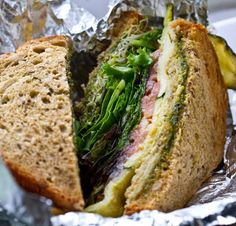 Vegan Angelique Sandwich - from Cafe Angelique in NYC. Contains fried eggplant, greens, tomato, zucchini, and vegan pesto.