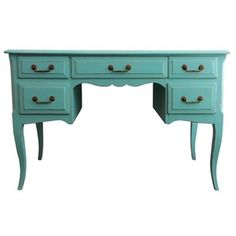Turquoise Five Drawer Writing Desk