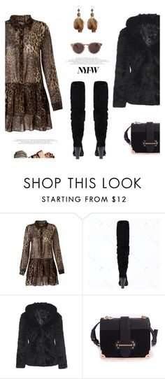 """#nyfw"" by meyli-meyli ❤ liked on Polyvore featuring Illesteva, NYFW, Boots, dress, leopard and rosegal"