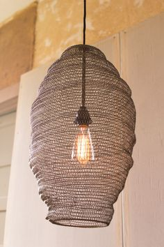 Kalalou Old Gold Wire Basket Pendant Lamp