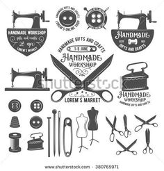 Set of vintage sewing labels, badges, design elements and emblems. Tailor shop old-style logo  - stock vector