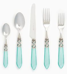 The Vietri Aladdin Antique Aqua Flatware features elegant pearlized handles with the strength of high-grade acrylic and 18/10 stainless steel. Made in Lumezzane, Italy.