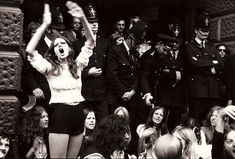 Caroline Coon leading the 'Free Oz Three!' protest outside the Old Bailey just after Richard Neville, Felix Dennis and Jim Anderson had been found 'Guilty' at the end of the OZ Obscenity Trial 1971. Caroline Coon was a witness for the defence.