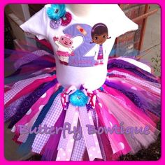 The perfect outfit for your little one's special Doc McStuffins Birthday Bash or Halloween Costume Party!!!  This TuTu is made with strips of untreated and unfinished fabric, allowing for it to fray s