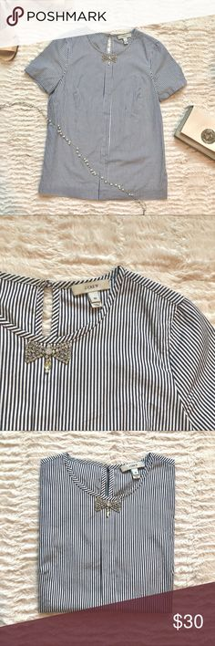 J crew striped shirt with jewel bow tie ECU Authentic J. Crew blue/white stripe top with cute, sparkly rhinestone bow. Gently worn, no stains or chips (in bow). Back keyhole with button closure. J. Crew Tops