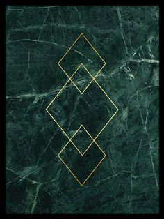 Triangle Gold green marble, poster i gruppen Posters og plakater / Størrelser…