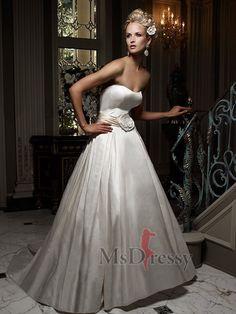 A-line Strapless Chapel Train Silk Wedding Dress with Flower