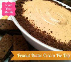 Peanut Butter Cream Pie Dip served with chocolate wafers or graham crackers!