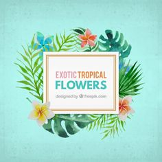 Watercolor exotic flower label Free Vector