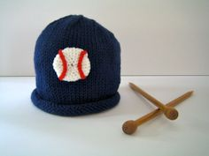 Knit Baby BASEBALL Hat Infant Boy Sports Fan by LittleKnitsStudio, $25.00