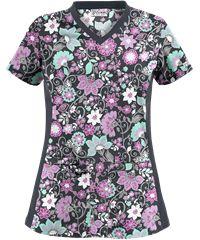 UA Flower Fair Pewter Side Knit Print Scrub Top