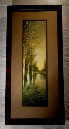 Antique 1910 beautiful watercolor landscape with birch trees along a river. Double matted print or lithograph is 14 x 4 , in 19 x 9 wood frame. The frame is in good solid shape, but the paper seal Watercolor Landscape, Landscape Paintings, Solid Shapes, Birch Trees, National Art, Vintage Art Prints, Painting Prints, Seal, River