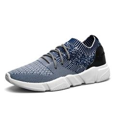 a9eb818bb1eec Men Strech Flyknit Fabric Breathable Light Running Shoes Sport Casual  Sneakers is fashionable and cheap