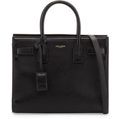 Saint Laurent Sac de Jour Nano Smooth Leather Tote Bag ($2,590) ❤ liked on Polyvore featuring bags, handbags, tote bags, nero black, satchel handbags, satchel tote, strap purse, handbags tote bags and satchel bag