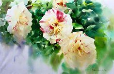 By Adisorn Pornsirikarn. Watercolor And Ink, Watercolor Flowers, Watercolor Painting, Leaf Art, Paint Designs, Hydrangea, Flower Art, Printmaking, Beautiful Flowers