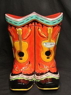 Southwest Clay Art Wild West Cowboy Boots Cookie Jar Hand Painted Stonelite | eBay