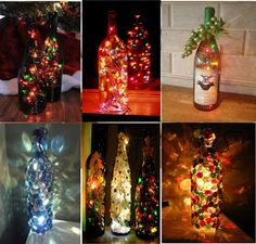 DIY wine bottles with lights