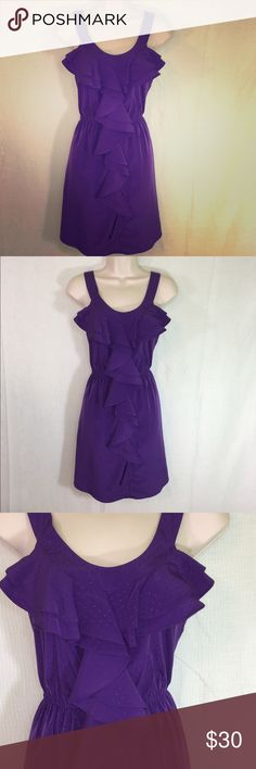 Purple Ruffle Dress-M A beautiful purple ruffle dress from Elle, size M. Is a flattering color and fit and a great dress to be worn casually or dressed up! Elle Dresses Midi