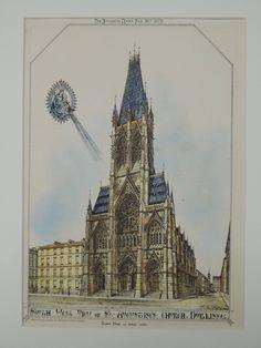 St. Augustine's Church, Dublin, Ireland, 1872, Original Plan. Hand-colored. Pugin & Ashlin.